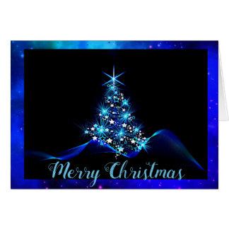 Tarjeta de Navidad azul eléctrica