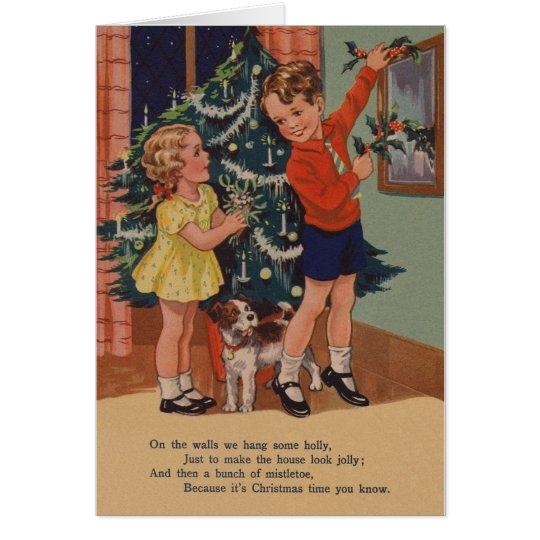 Tarjeta de Navidad básica del estilo del lector