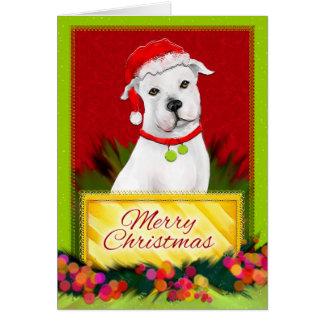 Tarjeta de Navidad blanca de Pitbull de las