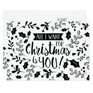Tarjeta de Navidad blanco y negro todos quiero