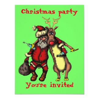 Tarjeta de Navidad borracha divertida de Santa y Invitación 10,8 X 13,9 Cm