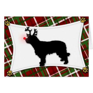 Tarjeta de Navidad catalana del reno del perro