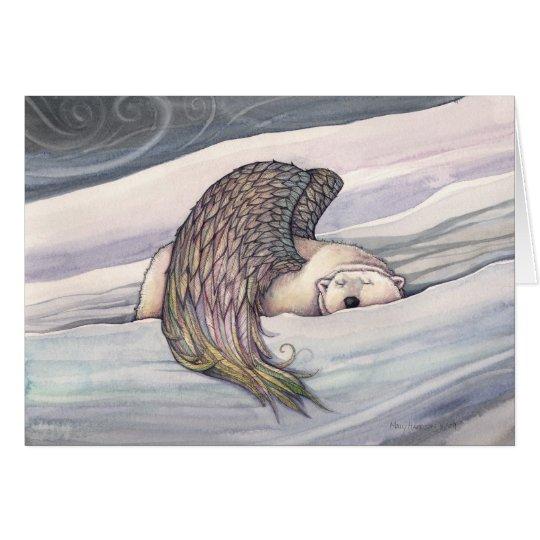 Tarjeta de Navidad coa alas del ángel del oso