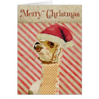 Tarjeta de Navidad color de rosa de la alpaca