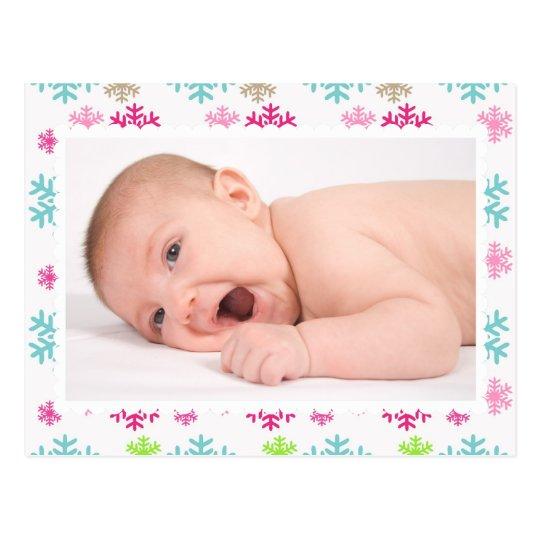 Tarjeta de Navidad colorida de la foto del copo de