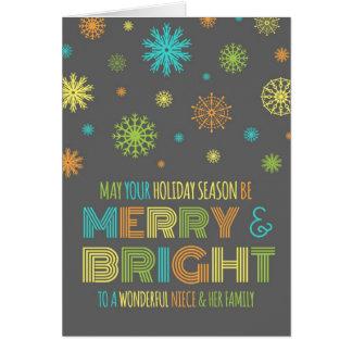 Tarjeta de Navidad colorida de la sobrina y de la