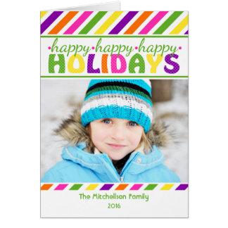 Tarjeta de Navidad colorida de las rayas