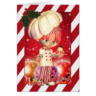 Tarjeta de Navidad con el cocinero y el árbol