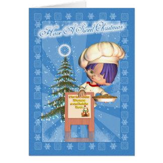 Tarjeta de Navidad con el cocinero y el árbol lind