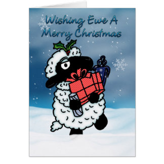 Tarjeta de Navidad con las ovejas - deseando a