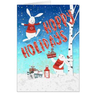 Tarjeta de Navidad - conejitos felices de los días