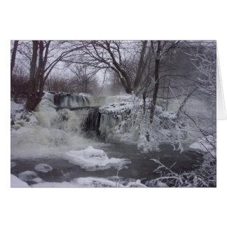 Tarjeta de Navidad congelada de la cascada - verso
