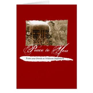Tarjeta de Navidad corporativa con el tractor