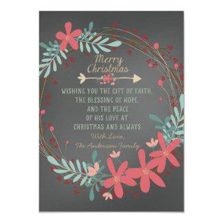 Tarjeta de Navidad cristiana de la pizarra rústica Invitación 11,4 X 15,8 Cm
