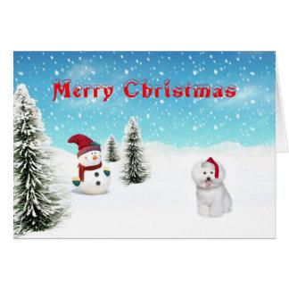 Tarjeta de Navidad de Bichon Frise