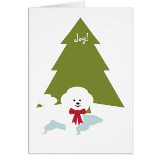 ¡Tarjeta de Navidad de Bichon Frise - alegría! Tarjeta Pequeña