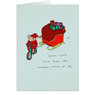 Tarjeta de Navidad de ciclo divertida de la huelga