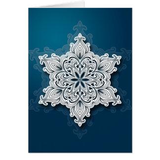 Tarjeta de Navidad de encaje del copo de nieve