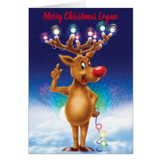 Tarjeta de Navidad de encargo de Rudolph y de la