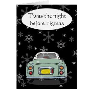Tarjeta de Navidad de Figmas del coche de Figaro