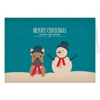Tarjeta de Navidad de Frenchie del SNORT del
