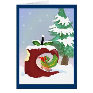 Tarjeta de Navidad de hadas del gusano