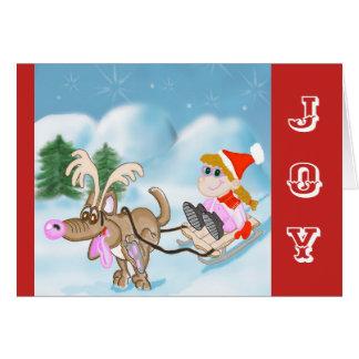 Tarjeta Tarjeta de Navidad de la alegría con el chica y el