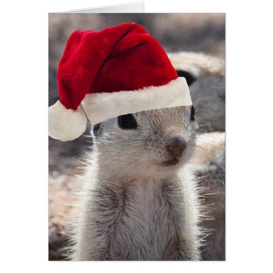 Tarjeta de Navidad de la ardilla de Santa
