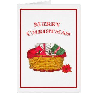 Tarjeta de Navidad de la cesta del día de fiesta