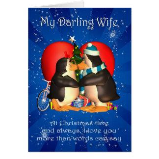 Tarjeta de Navidad de la esposa con el corazón de