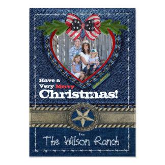 Tarjeta de Navidad de la foto del vaquero en la Invitación 12,7 X 17,8 Cm
