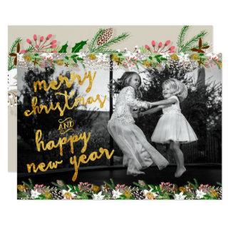 Tarjeta de Navidad de la guirnalda del invierno