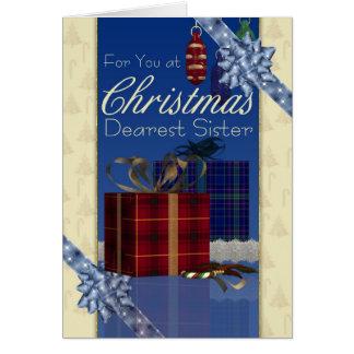 Tarjeta de Navidad de la hermana - elegante con lo