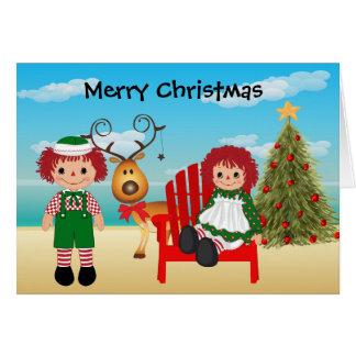 Tarjeta de Navidad de la muñeca de trapo