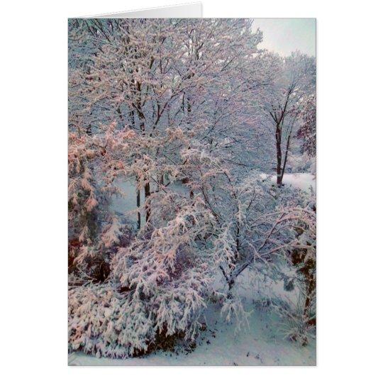 Tarjeta de Navidad de la nevada del invierno