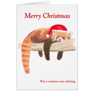 Tarjeta de Navidad de la panda roja
