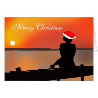 Tarjeta de Navidad de la puesta del sol del verano