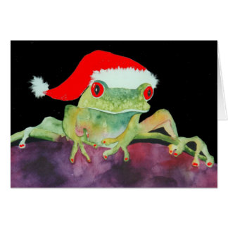 Tarjeta de Navidad de la rana de Santa