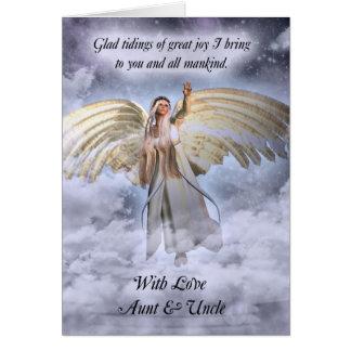 Tarjeta de Navidad de la tía y de tío Angel religi