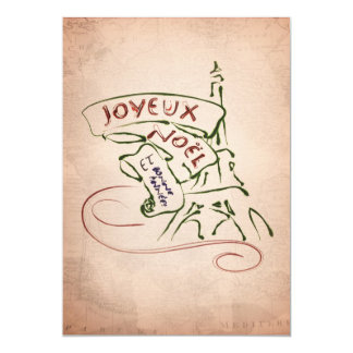 Tarjeta de Navidad de la torre Eiffel de Joyeux Invitación 12,7 X 17,8 Cm