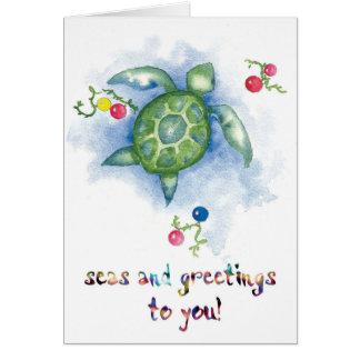 Tarjeta de Navidad de la tortuga de Honu de la