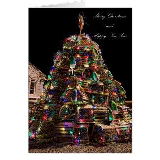 Tarjeta de Navidad de la trampa de la langosta