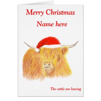Tarjeta de Navidad de la vaca de la montaña,