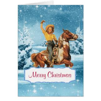 Tarjeta de Navidad de la vaquera y del caballo de