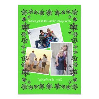 Tarjeta de Navidad de las fotos 3x5 del verde 3