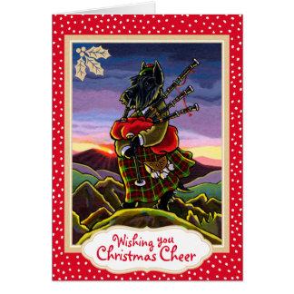 Tarjeta de Navidad de las gaitas de Terrier del