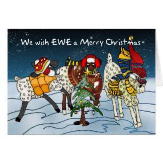 Tarjeta de Navidad de las ovejas - deseamos a ovej