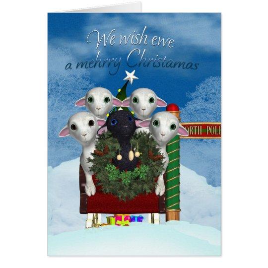 Tarjeta de Navidad de las ovejas - tarjeta del día