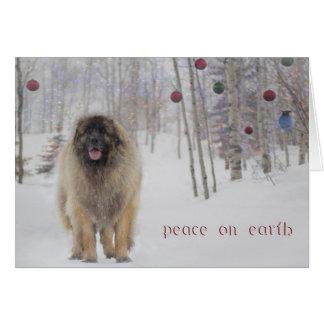 Tarjeta de Navidad de Leonberger de la paz