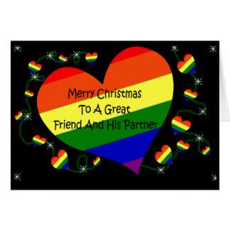Tarjeta de Navidad de LGBT para el amigo y su